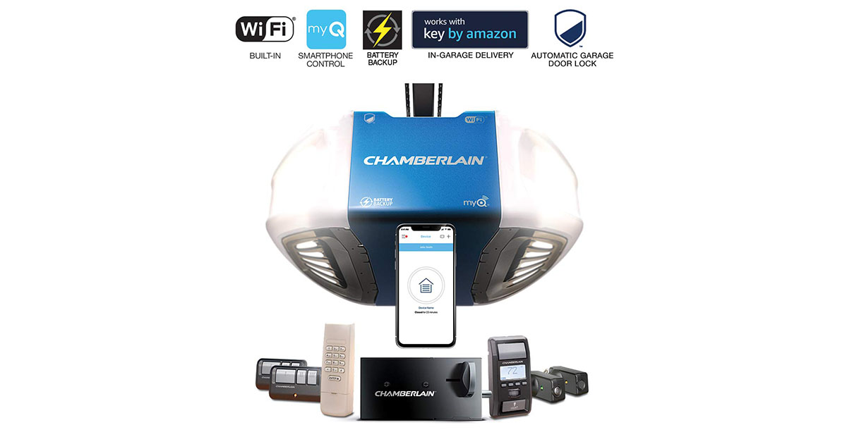 Chamberlain Group Chamberlain B980 Smartphone Controlled Ultra Quiet   Strong Belt Drive Garage Door Opener image